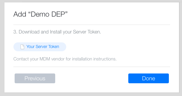 DEP - Download Server Token